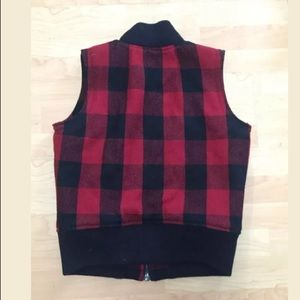 Madewell Jackets & Coats - Madewell red buffalo checkered wool vest size S